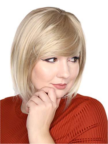 Prettyland hell-Blond Ombre Farbverlauf natürlich matte Kurze glatte Bobo gestufte Perücke für Alltag C2270