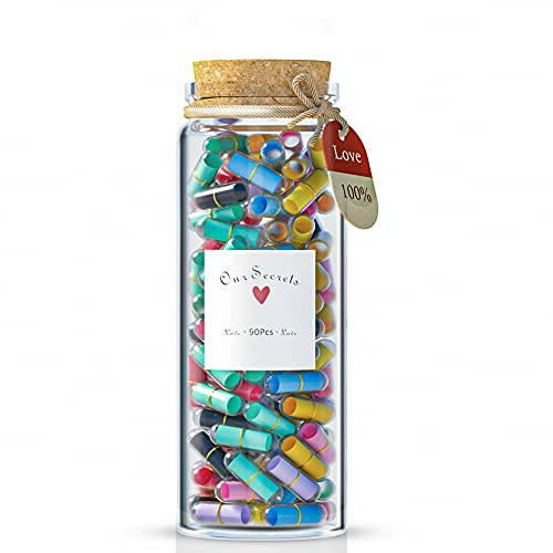 Capsule Letters Message in a Bottle Happy Pills Cute Couple Lover Valentines Day Gifts for Boyfriend Girlfriend (90 Stück)