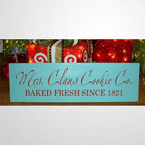 BYRON HOYLE Mrs Claus Cookie Co Baked Fresh since Christmas - Cartel de madera para decoración de pared, diseño de madera personalizado para Pascua, día del padre, día de la madre, hogar, jardines