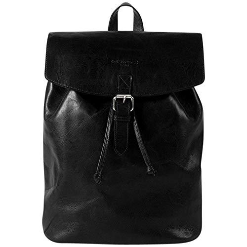 HOLZRICHTER Berlin Rucksack No 2-3 (M) aus echtem Leder - Premium Daypack im Vintage-Look für Damen & Herren - Schwarz