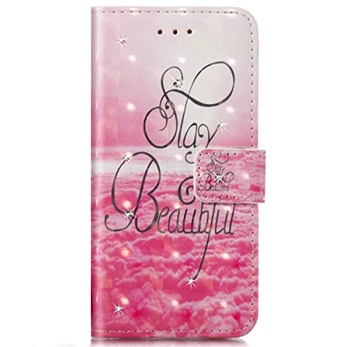 Surakey Coque Compatible avec Etui Galaxy J3 2016 Motif Brillant Paillette Glitter Etui Housse Cuir PU Portefeuille Folio Flip Case Cover Wallet Coque Housse pour Galaxy J3 2016,Beautiful Day