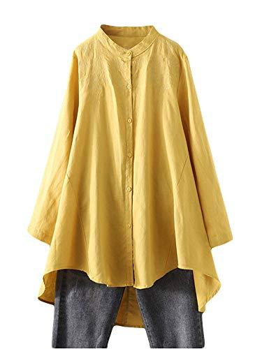 FTCayanz Damen Leinen Bluse Shirt Langarm Stickerei Hemd Elegant Langarmshirt Lang Tunika Tops Gelb XL
