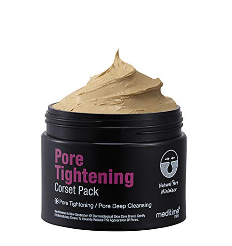 Meditime Pore Tightening Corset Pack, Pore Cleaner, Pore Minimizing Face Wash, Kaolin Mud Mask, Pore Reducer, Korean Mask Pack, Pore Eraser, Wash Off Type, Skin Irritation Tested, for All Types of Skin, for Men and Women, Pore Shrinking Mask, Miniaturize, 4.23 oz