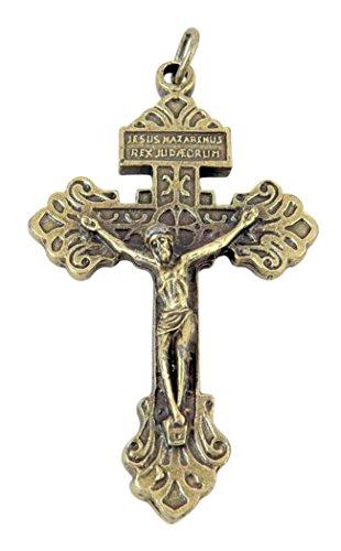 Religious Gifts Tono Bronce en Base He aquí Esta corazón Indulto Cruz Crucifijo Colgante, 2Pulgadas