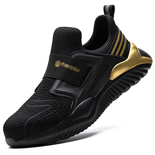Zapatos de trabajo Entrenadores de seguridad de malla ultraligerosa S3 para el verano, los hombres de las mujeres con las zapatillas de trabajo del toe de acero, las zapatillas de construcción antides