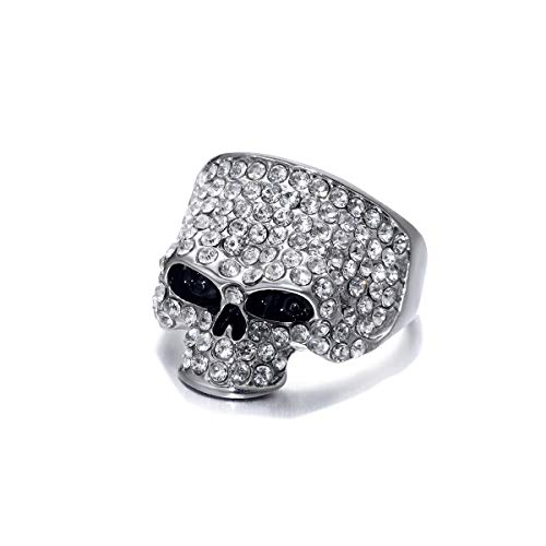 UMTNOR Skull Rings for Men Rock Punk Unisex Crystal Gothic Cool Biker Ring Male Skull Jewelry (Size 12)