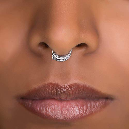 Indian Septum Ring, Dainty Sterling Silver Nose Hoop Piercing Earring, Also Fits Tragus, Earlobes, Helix, Feather Shaped, 18g, Unique Handmade Piercing Jewelry