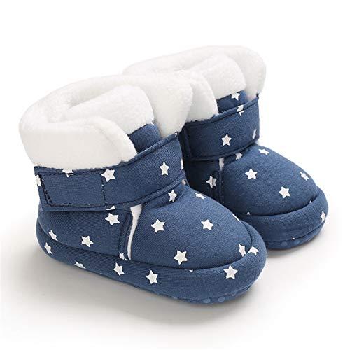 Baby Winterstiefel Jungen Winter Babyschuhe Mädchen, Krabbelschuhe Baby Warm Halten Lauflernschuhe Winter Winddicht wasserdicht Schneestiefel Weiche Sohlen Krippe Schuhe Stiefel (Blau,0-6 Monate)