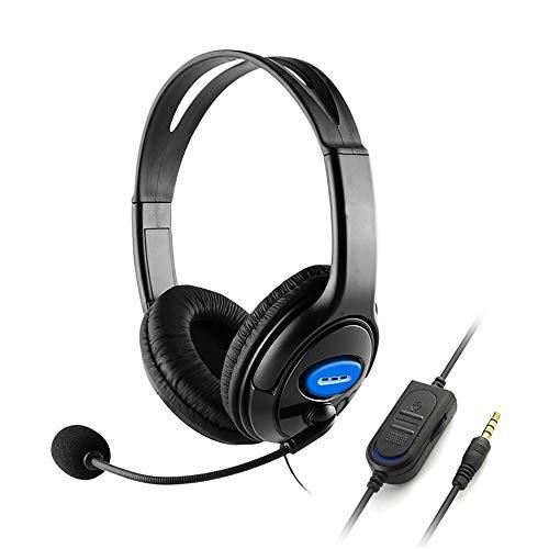 Auriculares de juego con micrófono para Xbox One, PS5, PS4, PC, 3,5 mm con cable de cabeza superior estéreo para juegos con micrófono de micrófono, control de volumen para Sony PS4 PC