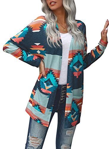 CORAFRITZ Damen Casual Langarm Farbblock Aztec Open Front Cardigan Mode Ethno Kimono Cardigan Pullover Outwear Gr. Small, mehrfarbig