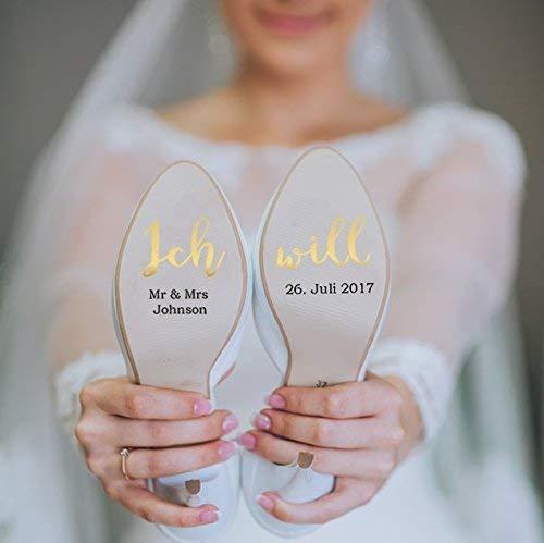 """Individualisierbare Schuhaufkleber """"Ich will"""" gold"""