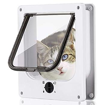 Smilelove Porte magnétique pour Chat avec verrou Rotatif à 4 Voies pour Chats, Chatons et Chatons (M 19 * 22 * 5.5 cm)