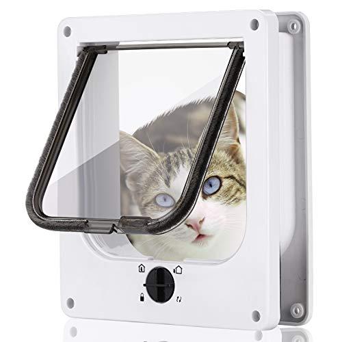 Smilelove Gattaiola Porta Basculante per Gatti, Porta Gatto Magnetica Porta con 4 Vie Serratura Rotativa per Gatti, Gattini e Gatti Grandi, Versione Aggiornata (L: 23.5 * 27 * 5.5CM, Bianco)