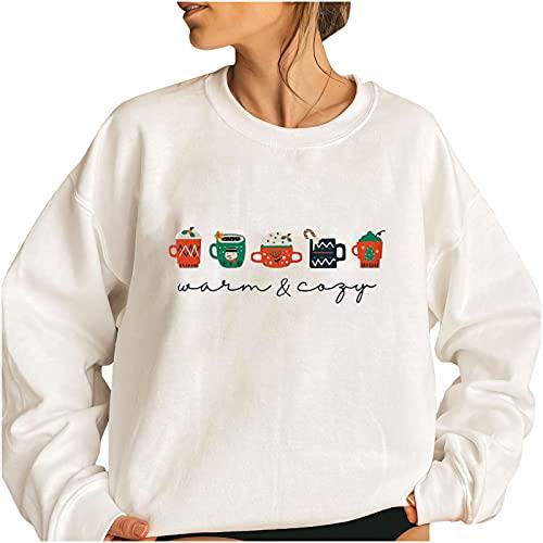 Wave166 Jersey de mujer monocolor, elegante, de Navidad, lindo estampado gráfico, camiseta de manga larga para carnaval o fiestas, 1 blanco., XXL