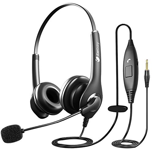 Cell Phone Headset with Microphone Noise Cancelling & Call Controls, Wired Headphones with Volume Control,Computer Headset Stereo for Zoom Skype Webinar Online Conference Office Home Call Center