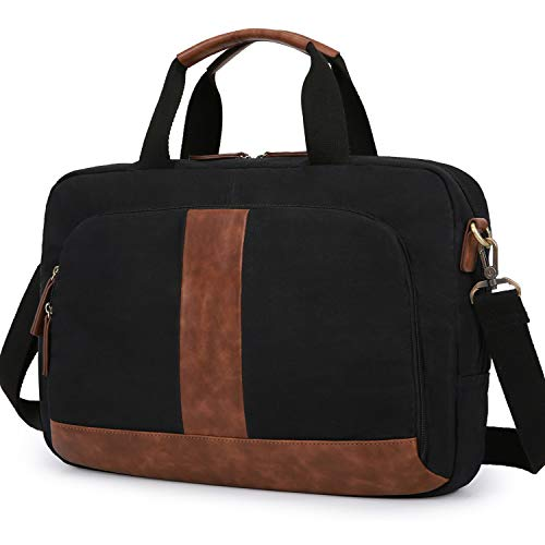 Laptop Bag 17.3 Inches ECOSUSI Canvas Computer Messenger Bag Briefcases for Men Water-Resistant for Business Work School Black