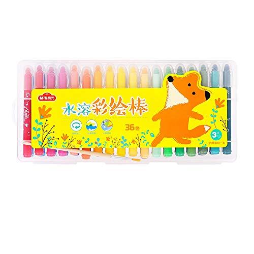 Yjdr Ölgemälde Student Office Briefpapier Stock Gemalt Stock-36 Farbe Rotating Crayon Wasserlösliche Kindergarten Pinsel Kinderfarbstift waschbares Baby 48 Farbe Set (Color : 36 Sticks)