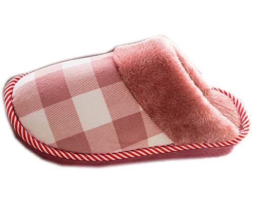 Zapatillas de Estar por Casa para Hombre/Mujer Invierno con Forro Cálido Antideslizantes Celosía Estilo Pantuflas Slippers Rojo Oscuro 38-39