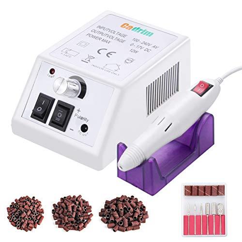 Cadrim Elektrische Nagelfräser Fräser Nagelfeile Maniküre Set plus 6Bits und Schleifhülsen mit geringem Rauschen und Vibration (20000RPM) (Weiß)