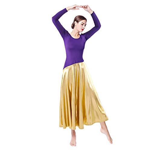 Disfraz de ballet para mujer Lyrical Praise de ballet metalizado con volantes irregulares morado XXL
