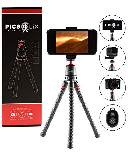 PicsClix Travel Tripod with Aluminum Ballhead - Includes Wireless Remote, GoPro Adapter, Phone Adapter. Use as a Bendable iPhone Tripod, Android Tripod, GoPro Tripod or Tabletop Tripod