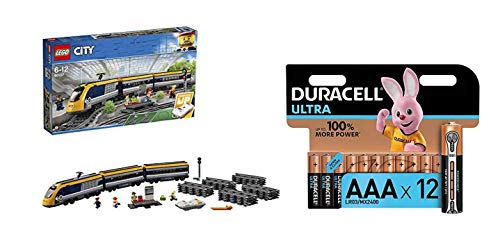 LEGO 60197 City Trains Passenger Train Set, Battery Powered Engine, RC Bluetooth Connection, Tracks and Accessories and Duracell Ultra AAA Alkaline Batteries, 1.5 V LR03 MN2400, Pack of 12