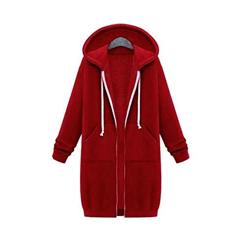 Moda Sudaderas Jersey Sweater Otoño Invierno Cremallera Sudaderas con Capucha Largas Abrigo Mujer Manga Larga Sudadera De Gran Tamaño Tops Moda Vintage Sudaderas Prendas De Vestir 3XL Rojo-8