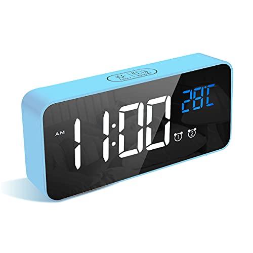 LATEC Sveglia Digitale con Grande LED Temperatura Display, Orologio da Comodino con 13 Suoni di Allarme, Porta di Ricarica USB, Dimmer di Luminosità Regolabile a 4 Livelli