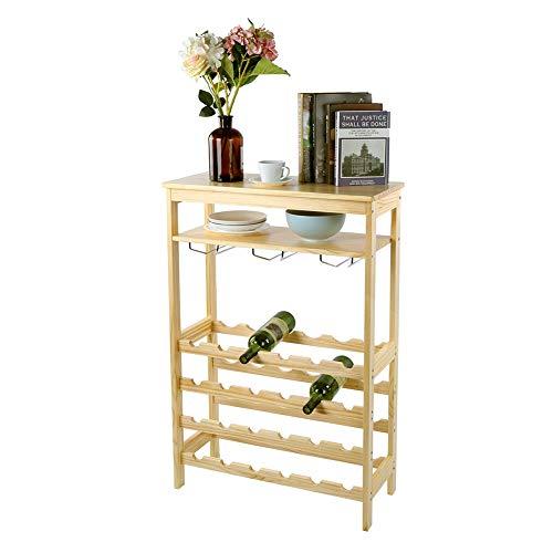 Armadietto da vino, 6 strati, autoportante, per 24 bottiglie, in bambù, con 10 portabottiglie per cucina, armadi, sala da pranzo, cantina, bar, 100 x 66 x 29 cm