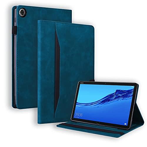 LMFULM® Hülle für Huawei MediaPad T5 / M5 (10,1 Zoll) PU Lederhülle Smart Hülle mit Ständer Schutzhülle Flip Cover Brieftasche Stil Blau