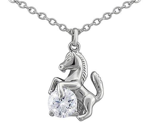 Hanessa Pferde Halskette in Silber Strass-Stein Mädchen-Schmuck Tier-Liebhaber Reiten Pony