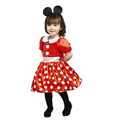 amscan x-DCMIN-DRRG18 Micky Maus und Freunde Kinderkostüm Minnie Rot, 86-92 cm
