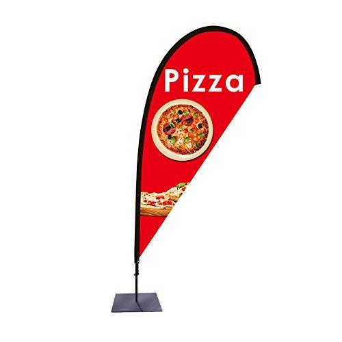 Beachflag Pizza Werbefahne über 2m hoch Tropfenform mit Bodenplatte für den Außen- und Innenbereich