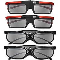 BOBLOV 3D Gafas Activas de Obturador, 96-144Hz 3D Gafas DLP-Link para DLP Proyector Optoma/BenQ/Sharp/Acer/Samsung/Mitsubishi/ViewSonic/LG ect (4 Pack-Familia)