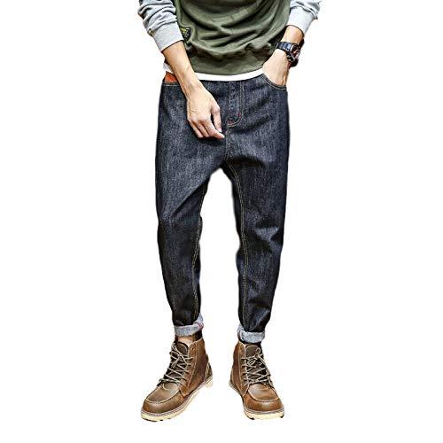 Pantalones Vaqueros de Mezclilla con Estilo de Corte Regular de Pierna Recta clásica para Hombre Pantalones de harén Sueltos y cómodos de otoño 28