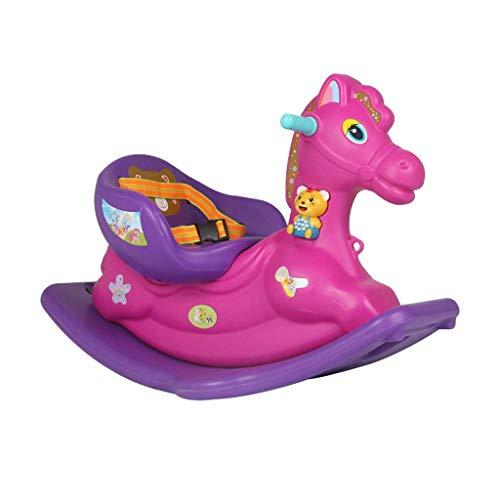 Wghz Juguete Acolchado troyano para bebé con Caballo Mecedora con Mecedora de plástico de música 85 * 52 cm (Color: púrpura)