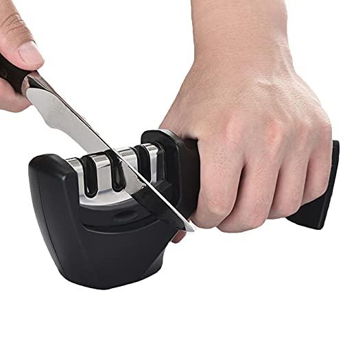 Affilacoltelli, Affilacoltelli Manuale, 3-Livelli Affilatrice, Affila Coltelli da Cucina per molatura grossolana, affilatura e lucidatura, adatto per coltelli da cucina, coltelli da frutta