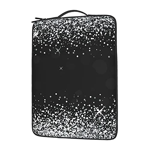 MBNGGAB Shiny Silver Glitter Laptop Sleeve Case, Laptops Sleeve Water Resistant Portable Computer Carrying Case Notebook Computer Tablet Bags for Men Women 13/14/15.6 inch