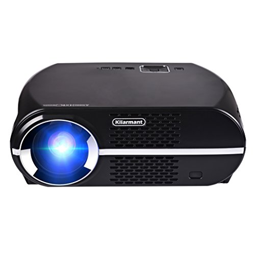Kllarmant Projector, Upgraded +45% Lumens LCD Video Projector 1080P Full-HD LED Multimedia Projector 1280x800 Native Resolution Home Cinema Theater Video Projector