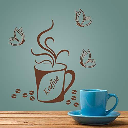 Muurstickers 4U tattoo-s muur stickers afbeeldingen sticker decoratie koffie kopje bonen cappuccino keuken kantoor eetkamer koffie keuken kantoor café bar bakkerij vlinders meubels raam plakfolie A. Koffiemok 1