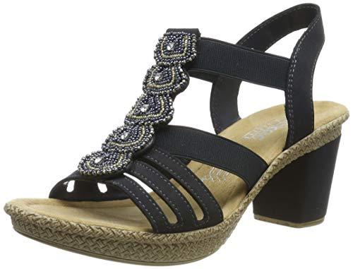 Rieker Damen Sandalen, Frauen Sandaletten, Sommerschuhe Absatzschuhe offene hoher Absatz feminin Freizeit leger,Blau(Pazifik),39 EU / 6 UK