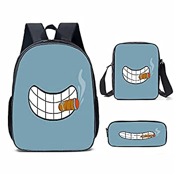 Futu-Rama 3pieces School Backpack Set with shoulder Bag Pencil Case for Boys Girls Large Capacity.