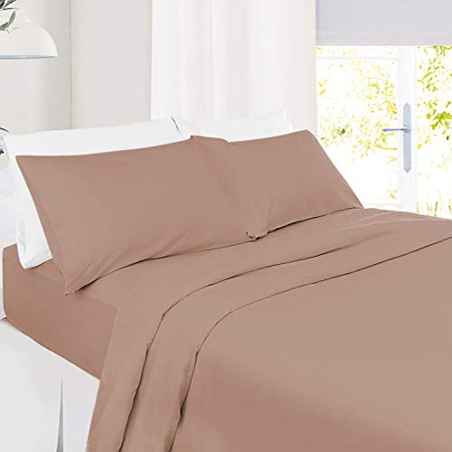 Twin Size Sheets – 3 Piece Twin Taupe Bed Sheet Set - Hotel Bed Sheets - Soft Microfiber Sheets - Easy Fit 8' to 14' Deep Pocket Fitted Sheets - 3 PC Sheets Twin Sheets - Taupe Sand