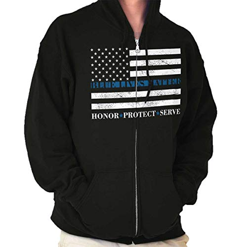 Blue Lives Matter Flag Thin Blue Line Police Zip Hoodie