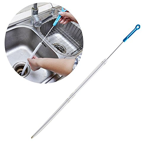 Aolvo Flexible Drain Reinigungsbürste, 69,8cm lang Duschrinne Reinigung Bürste Haar Rohrreinigungs-Werkzeug mit Stahl Stick mit Nylon Haar