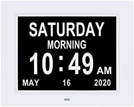 Johnziny 【2020 Newest Version】 8.7 INCH Digital Day Calendar Clock 8 Alarm Reminders Auto-Dimming Extra Large Day Date Month Dementia Clocks for Seniors Elderly Vision Impaired Memory Loss