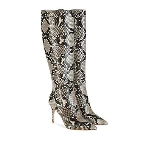 CJCJ-LOVE Ältere Sexy Snakeskin Boots Frauen Reißverschluss Gummi hohen Stiletto-Heels Stiefel Damen Booties Art und Weise Snakeskin Booties,43
