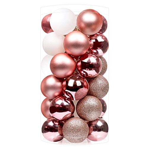 SHareconn 30ct 2.36 Inch Christmas Balls Ornaments for Christmas Tree, Shatterproof Colored Decoration Baubles for Holiday Party, Tree Ornaments Hooks Included (60mm,Rose Gold & White)