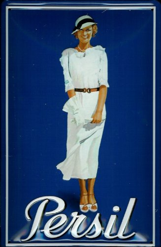 Buddel-Bini Versand Blechschild Nostalgieschild Persil blau mit Frau und Hut Waschpulver Schild