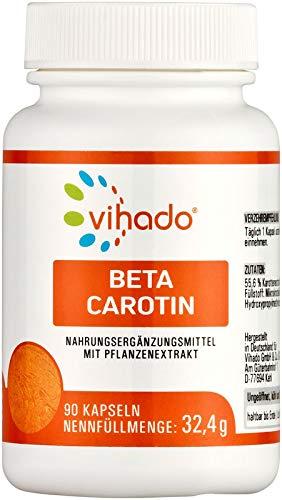 Vihado Beta Carotin Kapseln hochdosiert – pflanzliches Nahrungsergänzungsmittel mit Beta Carotin aus Karotten-Exktrakt – Carotinoide ohne künstliche Zusatzstoffe – 90 Kapseln